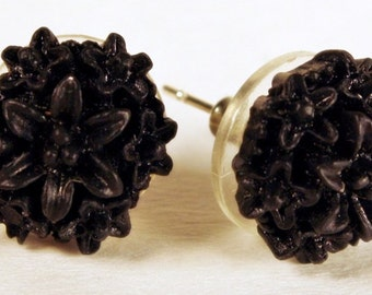 Black Flower Earrings, FREE US Shipping, Mums, Chrysanthemums, Posts, Fall, Autumn, Winter, Nickel-free