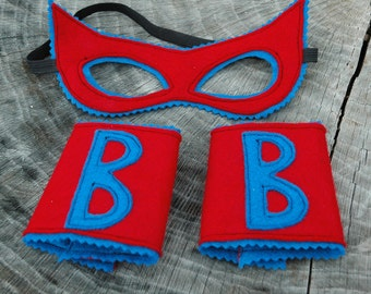 Customize Your Own Superhero MASK and CUFFS Set - Wool or Eco Felt Mask