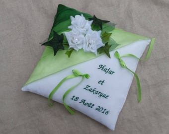 Blue, grey, white roses and Ivy green wedding cushion
