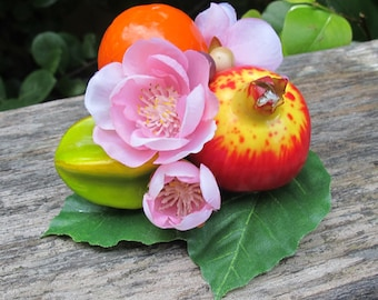 Fruits hair Clip - Pomegranate - Orange - Star fruit - Pink flowers -Carmen Miranda Style - Burlesque - Retro - Rockabilly