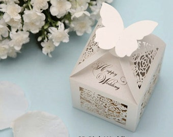 Wedding Favor Candy Box, Wedding Favor Box, Candy Box with Butterfly and Floral Laser Cut