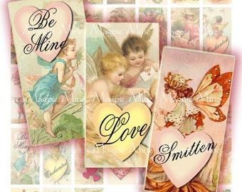 Fées romantique feuille de Collage numérique - 1 x 2 pouces Rectangles - imprimable - téléchargement immédiat