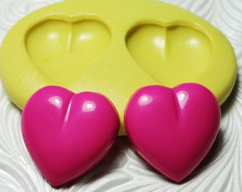 PUFFY HEART Mold Flexible Silicone Rubber Push Mold for FIMO Pmc Resin Wax Fondant Clay Ice 1621