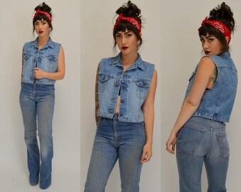 LEE   Medium   1980s Cropped Light Wash Denim Vest Vintage Jean Crop Top 80s