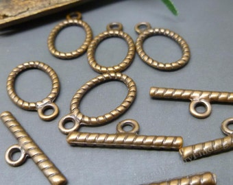 Antique Copper Toggle Clasps - 5 sets - Ring and Bar Toggle Clasps for Necklace or Bracelets - 15mm -C031