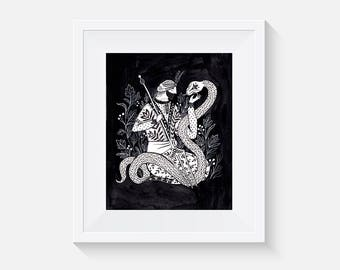 Sheikh and a Snake Art Print