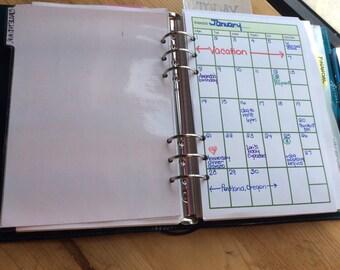 Monthly Calendar Undated {half size}