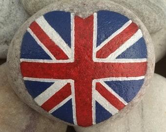 Hand Painted Union Jack Pebble Stone