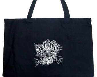 Large Tote Bag - Created out of Cat Themed Words Cat Face