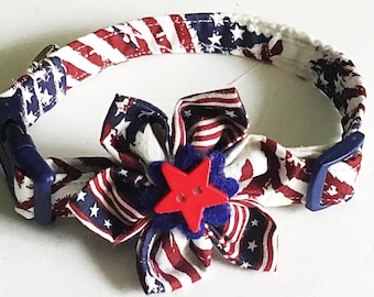 Patriotic Flag Collar with Matching Flower for Girl Dog or Cat