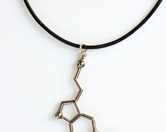 Silver Serotonin Leather Molecule Necklace, Chemistry Necklace, Hormone Leather Biochemistry Molecule Happiness Signal Pendant Biology
