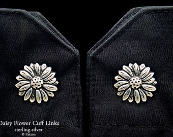 Daisy Flower Cuff Links Sterling Silver daisy Cufflinks