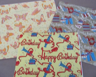 Vintage Wrapping Paper, 1960's, 1970's Birthday Gift Wrap Lot, Vintage Birthday Paper, Butterfly Paper