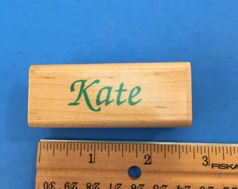 Kate, Wood Mount Rubber Stamp