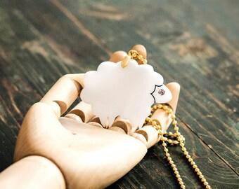 Lamb Necklace,Plexiglass Jewelry,Lasercut Acrylic,Gifts Under 25