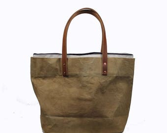 Large Waxed Cotton Canvas Tote Bag w/Liner - Natural - Leather Handles
