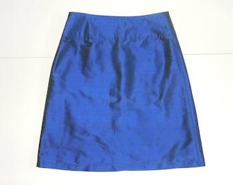 Festive blue skirt, size 38 (USA 8, UK 10), chintz, lining, zipper