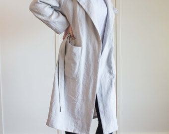 Linen Robe, Long Linen Robe, Long Linen Coat, Linen Robe with Hood, Linen Robe Women, Linen Robe Pockets, Linen Jacket Women