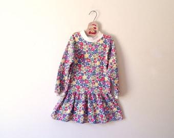 Vintage Fruity Drop Waist Jersey Knit Dress (Girls Size 6X)