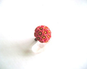 Coral Pink and Ochre Adjustable Clay Ring