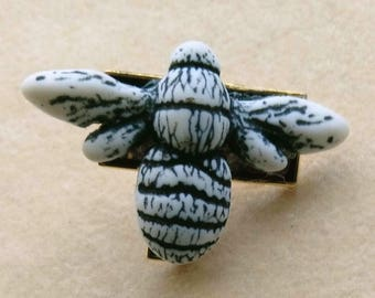 Gray Bee Lapel Pin, Bee Keeper Tie Tack, Vintage Blank, Father's Day TieTac, Man/ Women Bee Pin, Gray and Black Lapel Pin by enchantedbeads