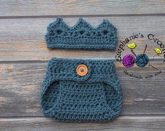 Crochet Newborn boy crown, diaper cover, crochet crown, crochet diaper cover, photo prop-Made to order
