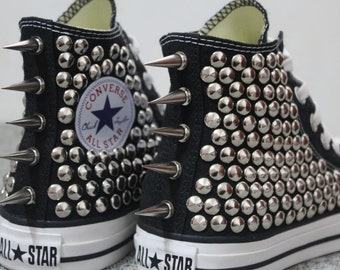 Cool Girl Studded Converse Silver studds Black high-top sneakers Punk styleish handmade customize shoes