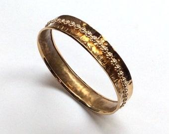 Hammered brass bangle, floral gold filled spinner bangle, meditation bracelet, statement bangle, simple hammered bangle - My treasure B3004
