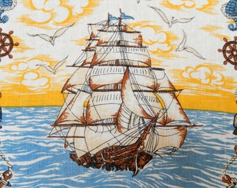 vintage linen tea towel, kitchen towel, nautical theme, sail ships, sea horses, kitchen linens