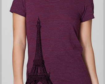 Women's Eiffel Tower Graphic Tee T Shirt American Apparel Shirt S, M, L, XL 8 COLORS