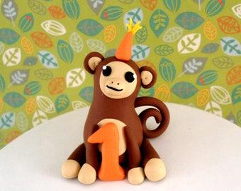Boys Birthday Cake Topper Monkey First Birthday Cake Topper Party Decoration Baby Cake Topper Baby Boys Birthday Party