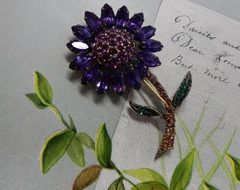 WEISS Signed Amethyst Flower Brooch on Stem w/ Leaves    PAN39