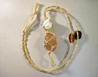 Agate Selenite Macrame Necklace