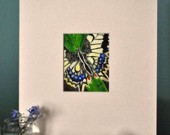 Beautiful acrylic painting of butterfly, matted for a 8 x 10 inch frame, small format painting, mini art