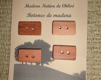 Rectangular buttons in native wood of larch made in Chiloé - Chile