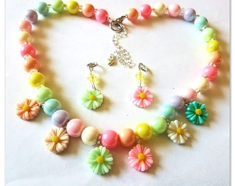Beaded Charm Necklace:  Colorful Spring Daisies!  Matching Hearing Aid Charms are Available at a Discounted Bundle price!