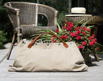 Sand and Sea WEEKENDER 5 - - Summer OWERNIGHT BAG from canvas and leather