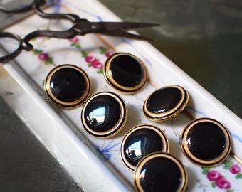 "Vintage Buttons Set of 7 Black and Gold Brass Shanks 2 cm / .75"""