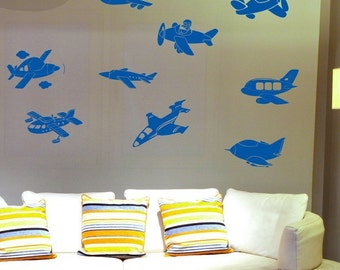 Fly Away Airplanes - 9 Vinyl Airplane Wall Decals