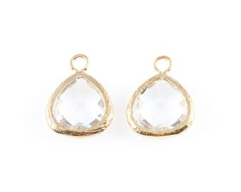 2pcs Clear Faceted Glass Charm in Gold, Framed Drop Glass Bead / Birthstone / April / Crystal / 10.5mm x 14mm / GCLG-003-P (Small)