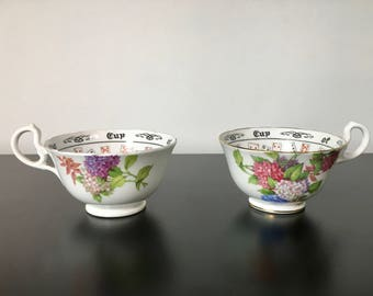 "Pair of Aynsley Teacups ""The Cup of Knowledge"" Tea Reading Cups Collectible Cups Tasseography Magic Fortune Tell"