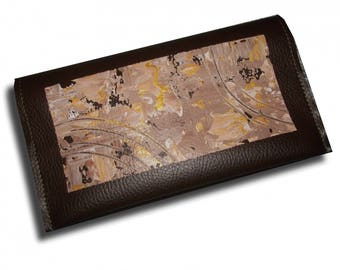 Brown beige paint checkbook abstract chic gold modern bag