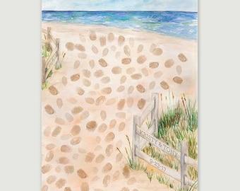 SALE!! Beach Dunes Thumbprint Guestbook, Wedding Thumbprint Guestbook, Beach Guestbook, Keepsake, Bridal Shower Guestbook, Wedding Gift