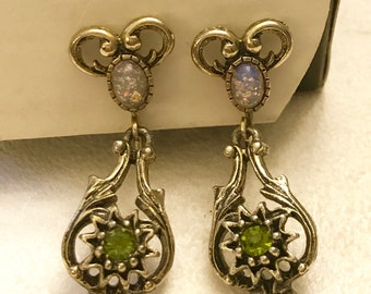Vintage Coventry Sarah Coventry Contessa Faux Opal and Olive Green Rhinestone Dangle Clip On Earrings