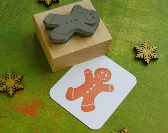 Large Gingerbread Man Rubber Stamp - Stocking Stuffer Filler - Christmas Stamper - Christmas Card - Scrapbooking - Cookie Supplies - Foodie