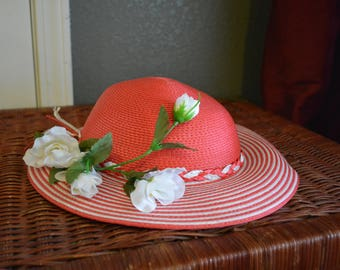 Derby Hat by designer David M, Red Straw Hat for little girls, white silk flowers with braided straw band, church hat or pageant parade hat