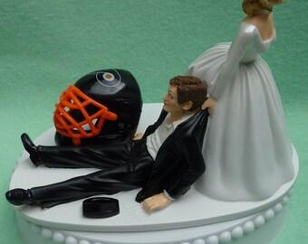 Wedding Cake Topper Philadelphia Flyers Hockey Themed w/ Bridal Garter Philly Sports Fans Funny Bride Groom Humorous Centerpiece Gift Idea