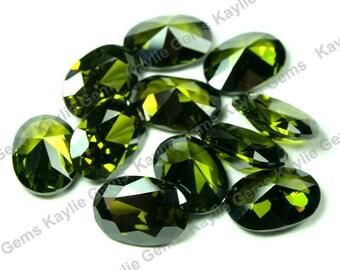 AAAAA Cubic Zirconia CZ Diamond Cut Oval 10x14, 10x12, 8x10, 6x8 - Olivine - 1pc
