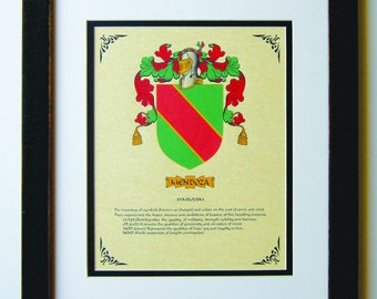 HERALDY COAT of ARMS ~ Mendoza Family Crest ~ Framed