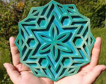 Ceramic merkaba flower mandala, turquoise cyan